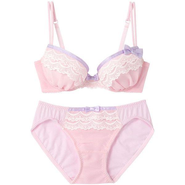 ボディコンシャス ブラ&ショーツセット (€16) ❤ liked on Polyvore featuring intimates, lingerie, underwear, pink, undergarments and pink lingerie