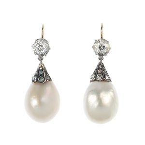 LOT:166 | A pair of late 19th century natural pearl and diamond ear pendants.