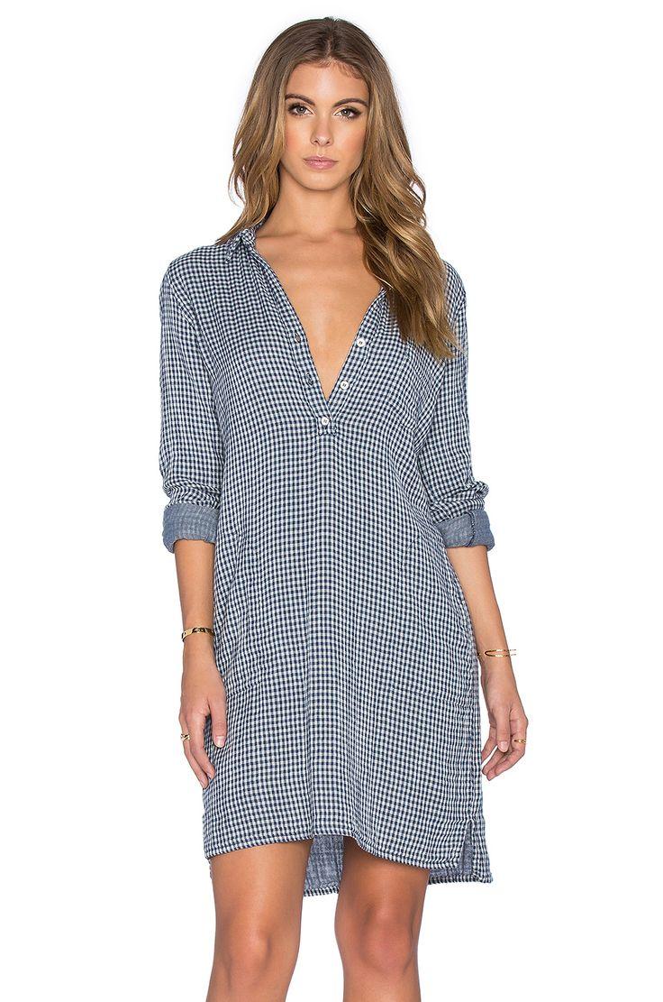Velvet by Graham & Spencer Allison Double Face Gingham Long Sleeve Shirt Dress in Navy & Cream