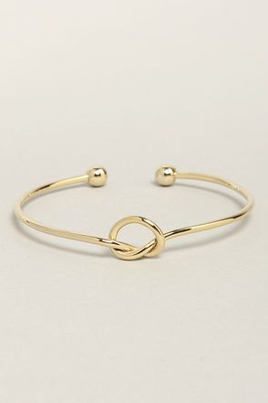 Let's Tie the Knot Gold Bracelet at LuLus.com!- bridesmaid gift