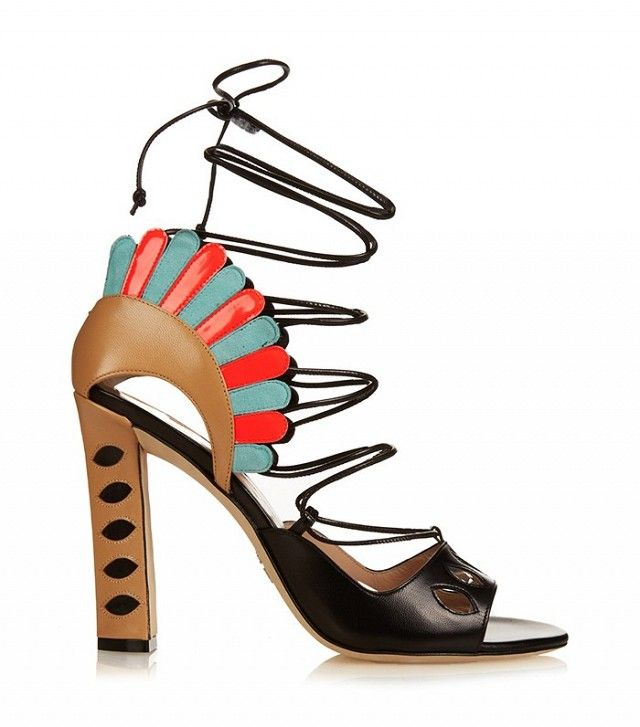 Paula Cademartori Lotus Leather Lace-Up Sandals