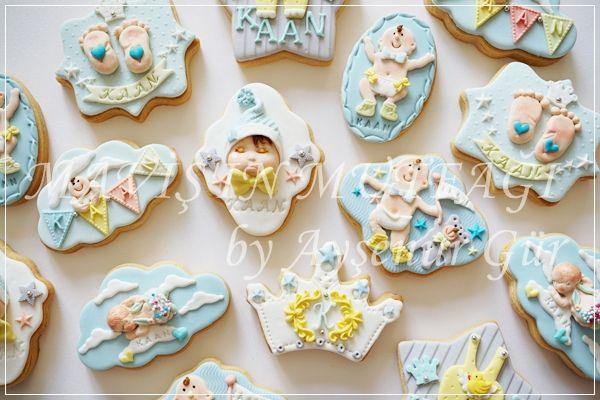 Yine kişiye özel tasarımlardan oluşan butik bebek kurabiyeleri...  İster baby shower ya da hastane odası ikramlığı olarak isterseniz de bebek mevlidinizde dağıtabileceğiniz en güzel ikramlıklar...