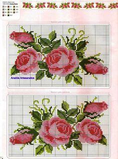rosas ponto cruz cross stitch roses                                                                                                                                                                                 Mais