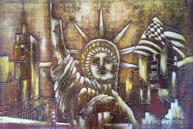 New York painting.  Statue of Liberty. Oilpainting handmade. www.dosadeco.nl