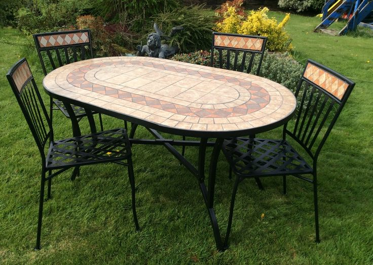 Oval Mosaic Dining Set