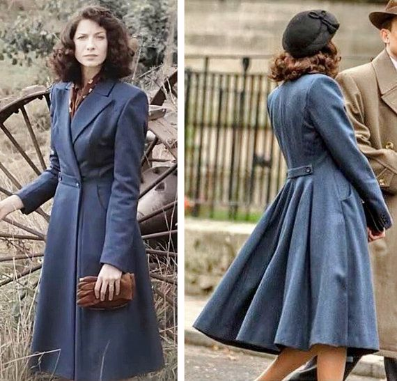 Etsy - Blue wool coat inspired by Claire Beauchamp Randall 40s costume from the first episode of Outlander 'Sassenach' by TatianasDelights on Etsy - US$ 249