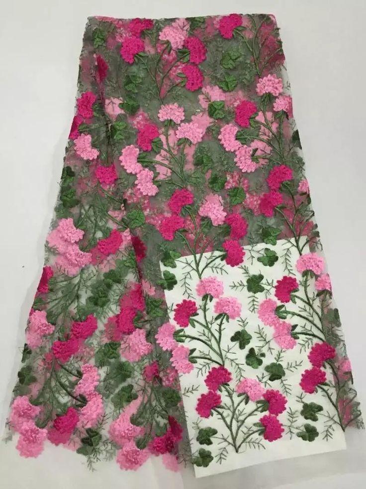 Высокое качество Африканская чистая кружевная ткань с камнями, красивый гипюр Французский тюль кружевной ткани для свадебного персик (K12купить в магазине African Garden Lace StoreнаAliExpress