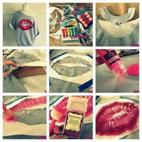 44 Best DIY Fashion Ideas Ever..sweat shirt kiss