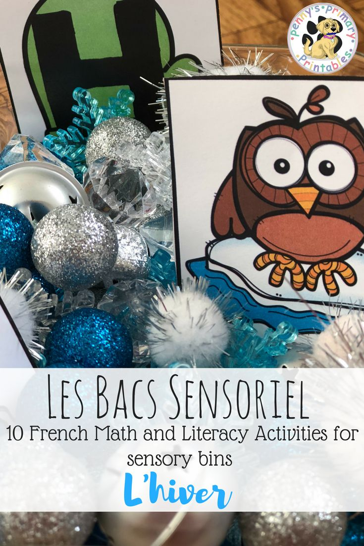 10 French math and literacy activities for use in a sensory bin or in literacy centres!