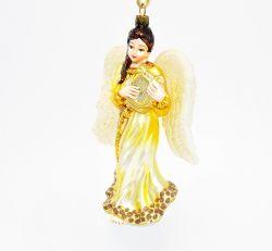 Anioł z lirą - złota szata - Polskie bombki ręcznie malowane - sklep z ozdobami choinkowymi Komozja Family