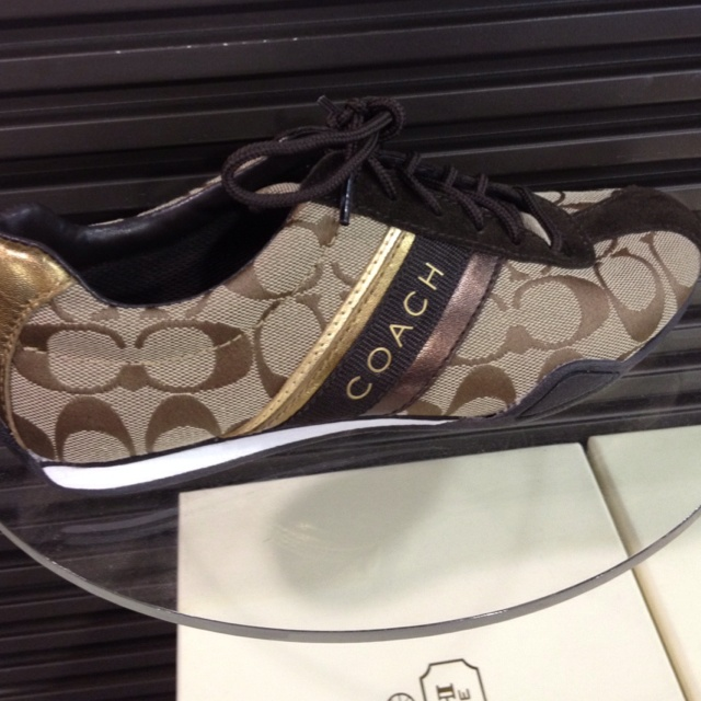 Coach shoes in khaki and chocolate brown with gold and bronze accent