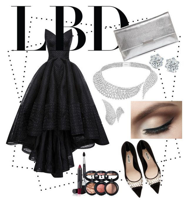 """little black dress"" by sheliniap on Polyvore featuring HUISHAN ZHANG, Miu Miu, Loeffler Randall, Messika and Laura Geller"