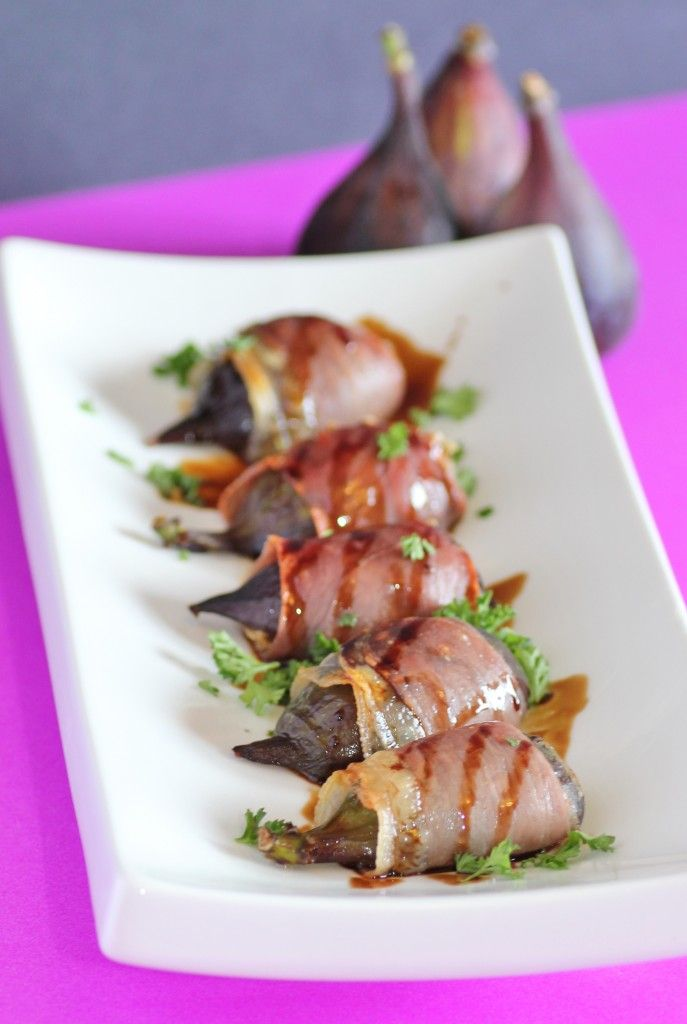 Prosciutto Wrapped Figs. stuffed with cream cheese and drizzled with a ...
