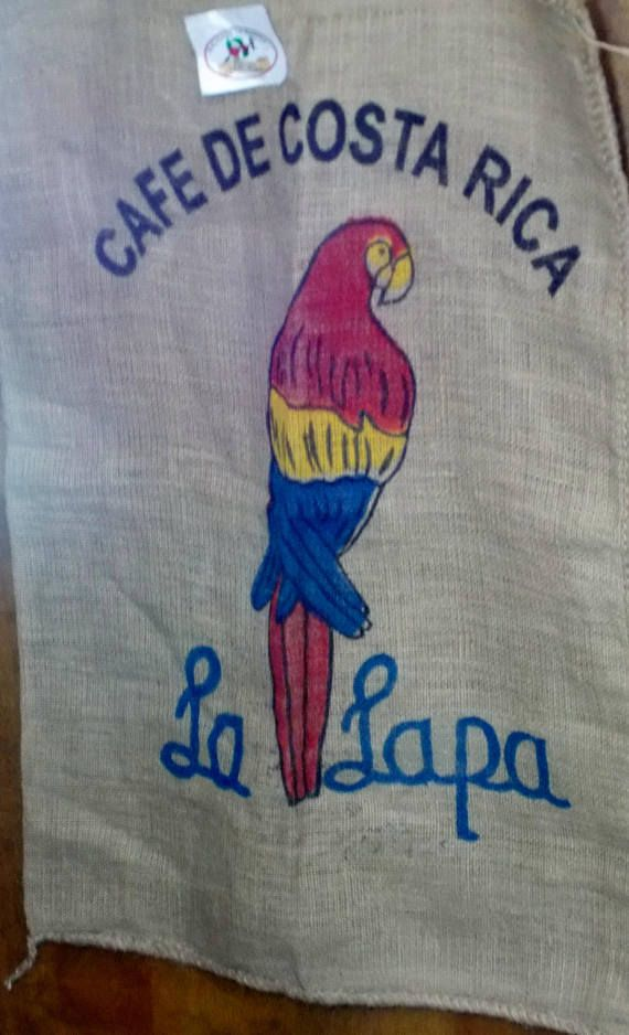 COSTA RICA BURLAP LA LAPA COFFEE BURLAP SACK BAG PARROT Rustic Decorating
