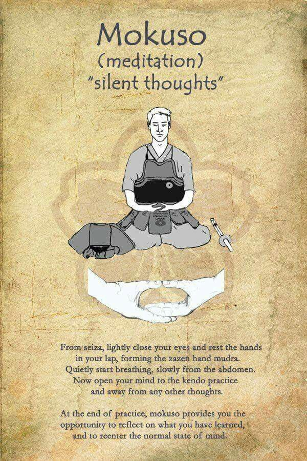 Mokuso. To clear one's mind. To prepare yourself for practice.... And everything that will happen ;)