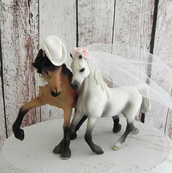 Country Wedding Horse Couple Cake Topper with custom color flowers, veil, bow tie and cowboy hat by AnimalToppers, $49.00