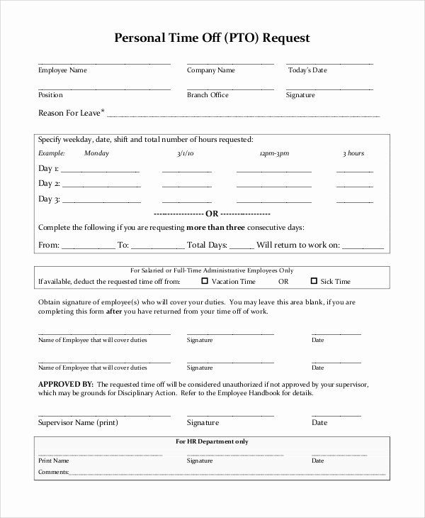 Time Off Request Form Template Elegant Sample Time F Request Form