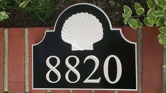 House Numbers Address Sign Plaque Custom Coastal 3 D Seashell