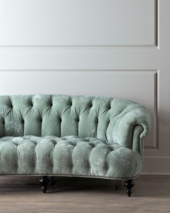 Tufted Mint Velvet Curved Sofa Antique With Modern