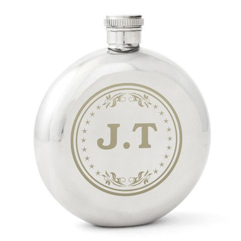 Personalised Monogram Round Hip Flask Gift - http://www.vivabop.co.uk/products/personalised-monogram-round-hip-flask-gift