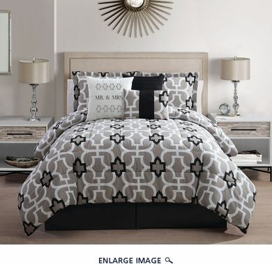 7 Piece King Mr And Mrs Print Comforter Set Bedding