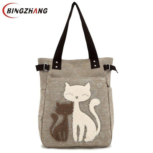 Daily Deals $11.99, Buy Fashion Women Canvas Handbag Cute Cat Appliques Travel Shoulder Bags Causal Lady Handbags Female Shoulder Tote Bags L4-2544