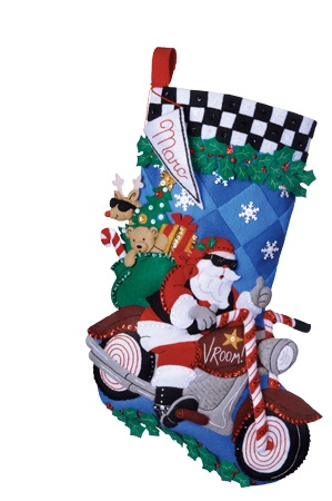 Cruising Santa Bucilla Christmas Stocking Kit