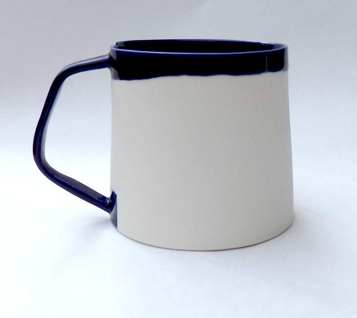 porcelain mug with angled handle, hanmade