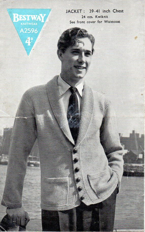 c50d1f40c610be M4002 Mens Knitting Pattern 1940s Vintage Mens Cardigan with Shawl Collar  39-41inch Mens Waistcoat 38-46inch Mens Jacket DK PDF Instant Download  PLEASE NOTE ...