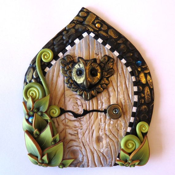 Wise Owl Fairy Door Pixie Portal Fairy Garden Decor by Claybykim