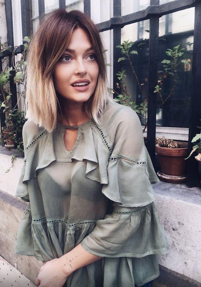 blond ombre für kurze haare grüne bluse lässt sich gut mit der haarfarbe kombinieren
