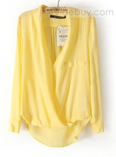ファッション純色コットンブレンドブラウス