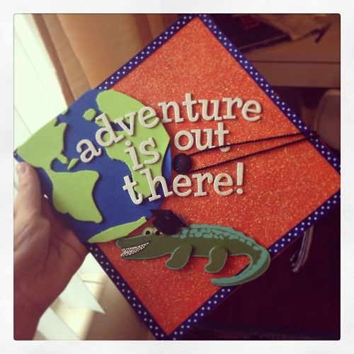 My travel-inspired graduation cap I wore in December! Made it myself. (Go Gators!)