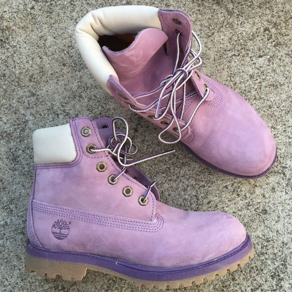 Purple Timberland boots Nearly brand new purple Timberland boots! Small spot on the left boot but barely noticeable. I wore these boots a half of a time before I figured out they were too small for me. (Yes I understand you have to break them in and that was not the problem) They are absolutely adorable and different from and Tims I have ever seen. Size 6.5 in kids which is supposed to be a women size 7.5 or 8. Timberland Shoes Combat & Moto Boots