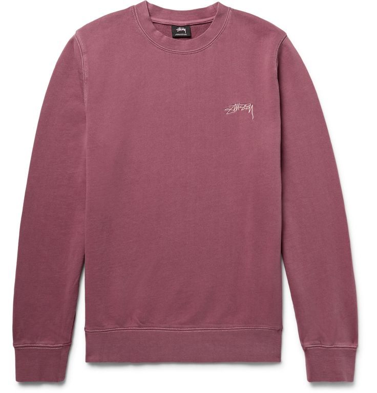 <b>Designed exclusively for MR PORTER.</b> Known as the 'original streetwear brand', <a href='http://www.mrporter.com/mens/Designers/Stussy'>Stüssy</a> designs effortlessly cool, casual pieces. This relaxed-fit sweatshirt is cut from soft loopback cotton-jersey and embroidered with founder Mr Shawn Stüssy's handwritten logo. The faded plum hue looks surprisingly masculine when teamed with neutrals.