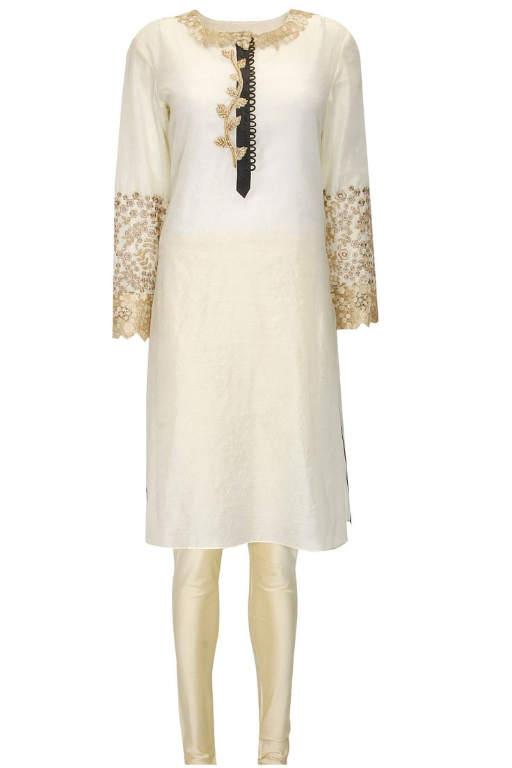 Ivory and gold floral embroidered kurta set by Jade. Shop now: http://www.perniaspopupshop.com/designers/jade-by-monica-and-karishma #kurta #jade #shopnow #perniaspopupshop