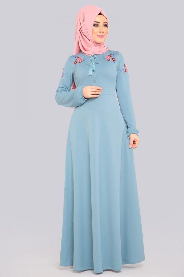 9ad491232fa61 Çiçek Nakışlı Tesettür Elbise LRJ522 Bebe Mavisi | جديد in 2019 | Elbise  modelleri, Elbiseler, Türban kıyafetler