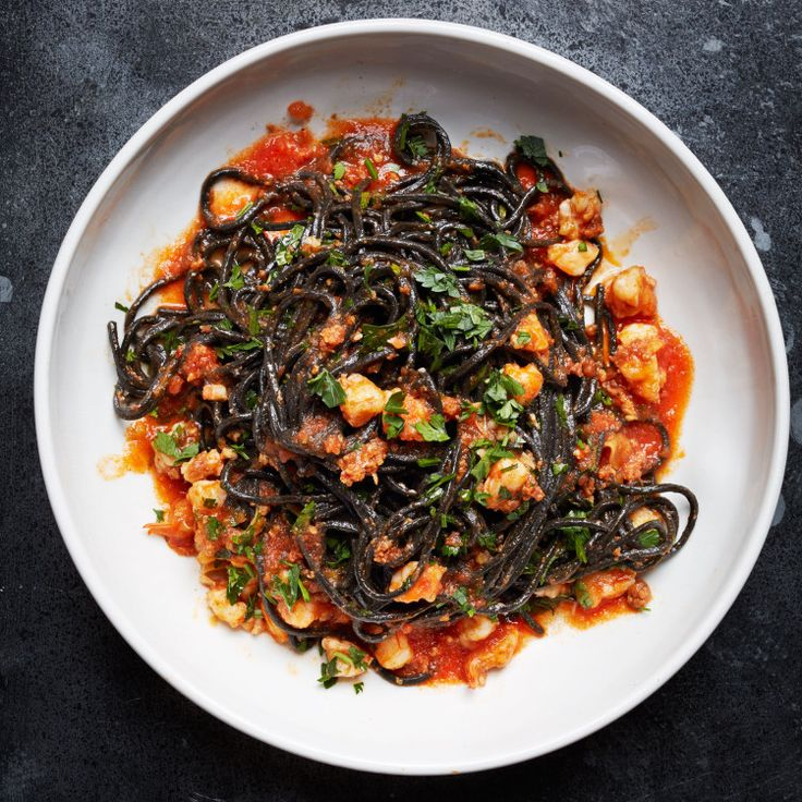 Squid Ink Pasta w/ Shrimp, Ndjuja, and Tomatoes - No nduja? Just add an extra glug of olive oil along with some red pepper flakes.