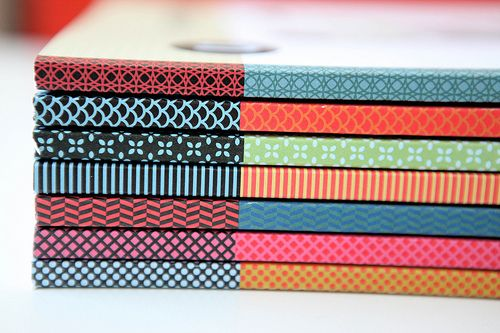 Washi Tape on Book Spines via Uppercase Magazine.