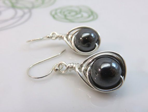 Hematite earrings   wire wrapped gemstone by GonzalezGoodies