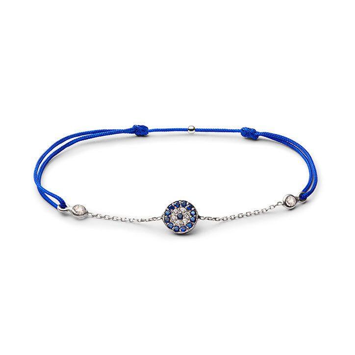 Charm'ed bracelet by Charm'ed Copenhagen - Protective Eye with chain, Choose your own colour of ribbon www.charmedcopenhagen.com - #charmed #bracelet #danishdesign #eye #jewellery #armbånd #smykker #charmed_cph #rikkehandrecknovod