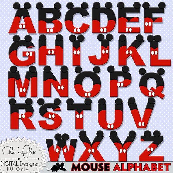 MOUSE ALPHABET LETTERS Mouse Digital Letters by DigitalPackages