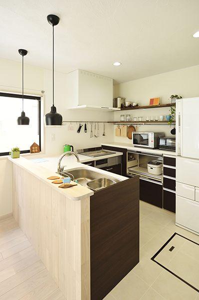 No 0433 デッドスペースを活かす 開放的なldkで家族の時間を楽しむ家 一戸建て リビング キッチン L型キッチン キッチンのレイアウト