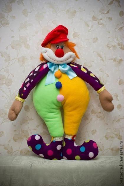 Игрушка-подушка - жёлтый,зеленый,красный,рыжий клоун,смешной,добрая игрушка