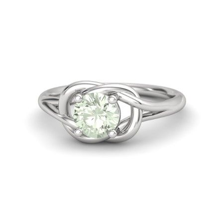 Round Green Amethyst Sterling Silver Ring | Strong Knot Ring (6.5mm) | Gemvara