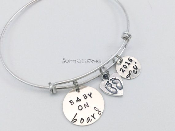 Expecting Mom Gift Expectant Pas Pregnancy New Bracelet Sterling Silver Expandable Baby Feet Charm Pregnant Shower Ideas