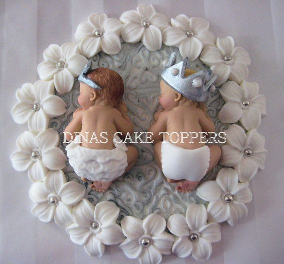 Twins Prince and Princess baby Shower First Birthday Cake Topper