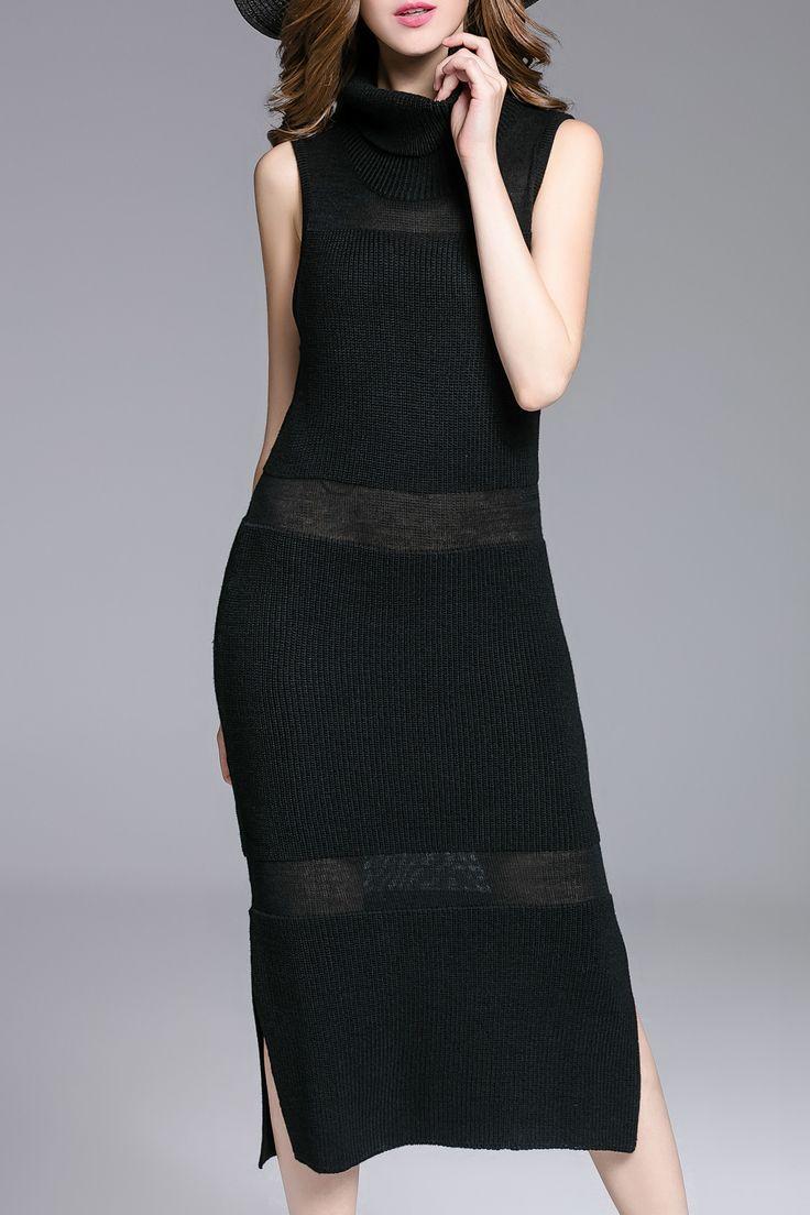 Sexy Black Sleeveless Side Slit Turtle Neck Sweater Dress #Sexy #Black #Sleeveless #Side_Slit #LBD #Black_Dresses #Fashion