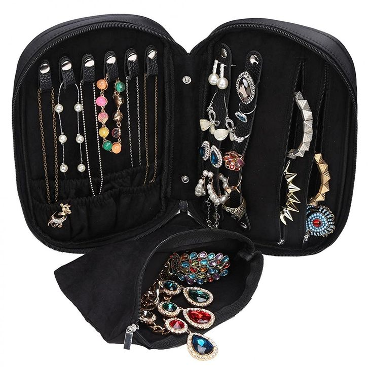 Amazon.com: WODISON Zipper Carry-on Travel Jewelry Case Organizer with Removable Pouch Black: Jewelry