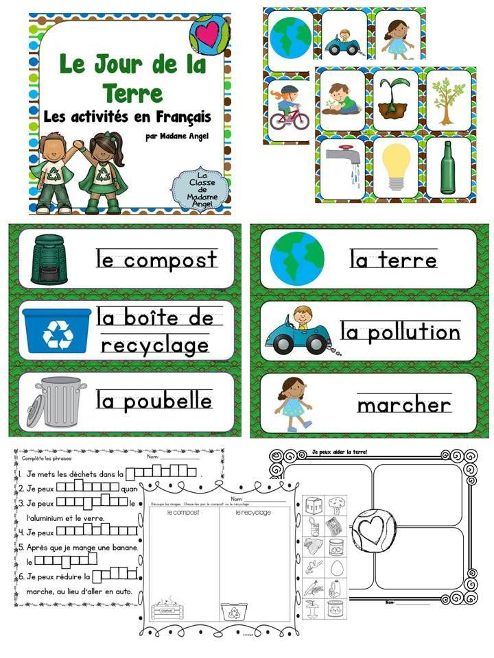 $ Le Jour de la Terre!  Les activités en français.  Earth day themed literacy activities in French.